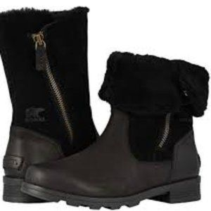 New Emelie Foldover black leather/shearling US5.5